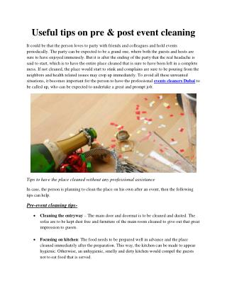 Useful tips on pre & post event cleaning