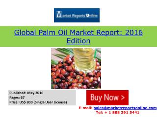 Palm Oil Market Analysis & 2016 Trends
