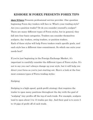 KISHORE M FOREX PRESENTS FOREX TIPS