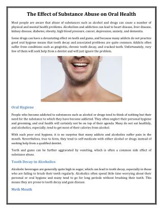The Effect of Substance Abuse on Oral Health
