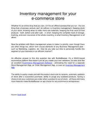 Inventory management for your e-commerce store