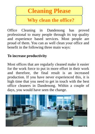 Why Clean the Office?