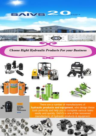Choose Right Hydraulic Products for Your Business