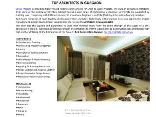 Top Architects in Gurgaon and Delhi
