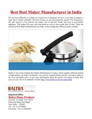 Best Roti Maker Manufacturer in India