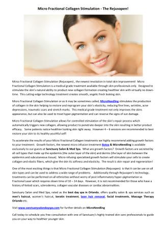 Micro Fractional Collagen Stimulation - The Rejuvapen!