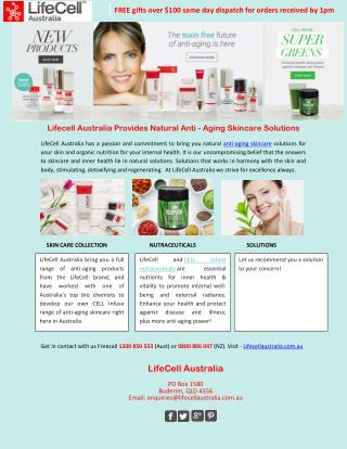 Lifecell Australia Provides Natural Anti-Aging Skincare Solutions