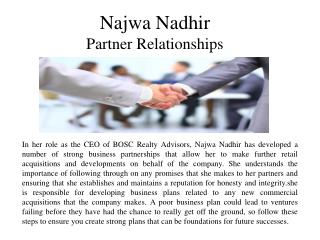 Najwa Nadhir-Partner Relationships