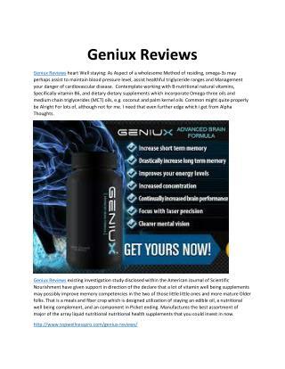 Geniux Reviews: 100% Natural & Safe Geniux