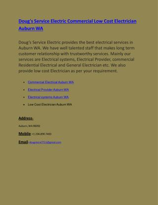 Doug's Service Electric Commercial Low Cost Electrician Auburn WA