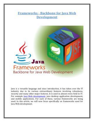 Frameworks - Backbone for Java Web Development