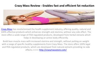 Crazy Mass - Enhance The Metabolism Rate Of Body