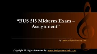 BUS 515 Midterm Exam Assignment