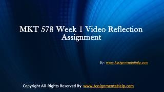 MKT 578 week 1 video reflection assignments