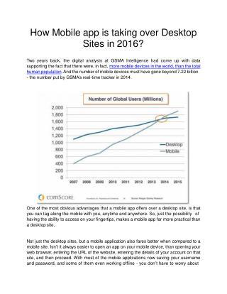 How Mobile app is taking over Desktop Sites in 2016?