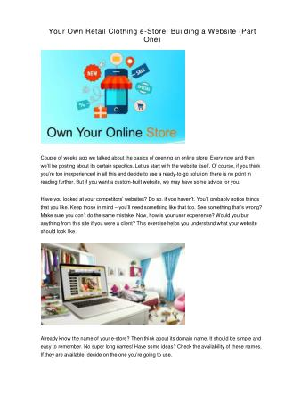 Your Own Retail Clothing e-Store. Building a Website (Part One)