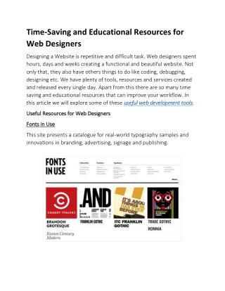 Time-Saving and Educational Resources for Web Designers