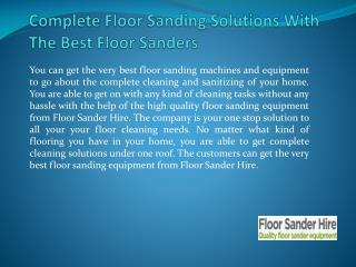 Complete Floor Sanding Solutions With The Best Floor Sanders