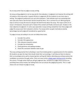 As an Essay writer How To Judge an Essay?