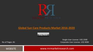 Sun Care Products Market Segmentation Overview 2016 to 2020
