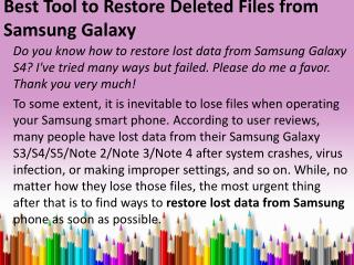 Best Tool to Restore Deleted Files from Samsung Galaxy