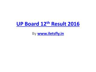 UP Board intermediate Result 2016