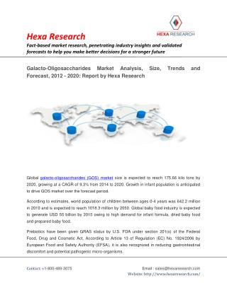 Galacto-Oligosaccharides (GOS) Market Size, Analysis,Trends and Forecast, 2012 - 2020 : Hexa Research