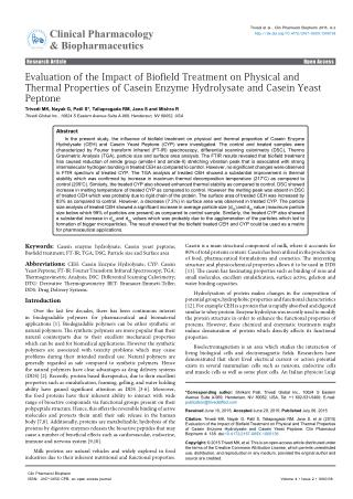 Evaluation of the Impact of Biofield Treatment on Physical and Thermal Properties of Casein Enzyme Hydrolysate and Casei