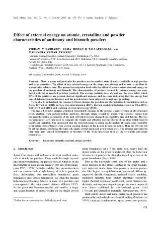 Effect of external energy on atomic, crystalline and powder characteristics of antimony and bismuth powders