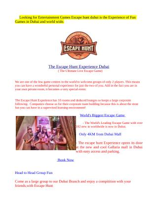 Escape hunt Game in dubai - Fun Games in Dubai