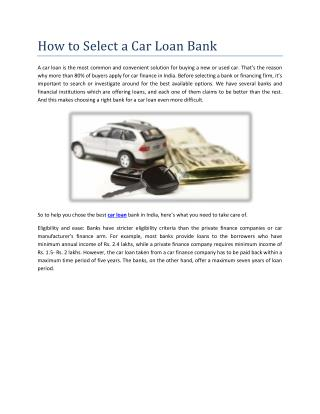 How to select a car loan bank