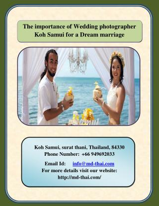 The importance of wedding photographer koh samui for a dream   marriage