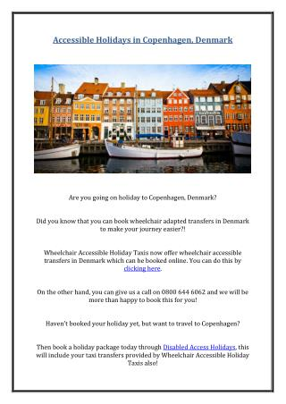 Accessible Holidays in Copenhagen, Denmark