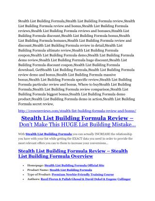 Stealth List Building Formula review and (free) $12,700 bonus-- Stealth List Building Formula discount