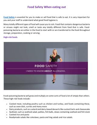 Food Safety When eating out