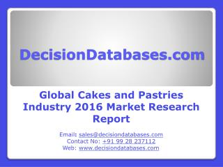Global Cakes and Pastries Industry Analysis and Revenue Forecast 2016
