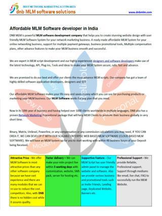 Affordable MLM Software developer in India