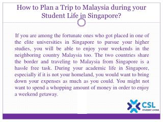 How to Plan a Trip to Malaysia during your Student Life in Singapore?