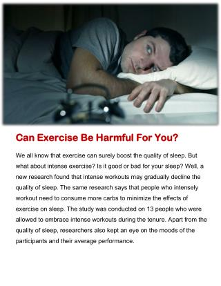 Can Exercise Be Harmful For You?