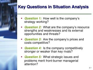 Key Questions in Situation Analysis