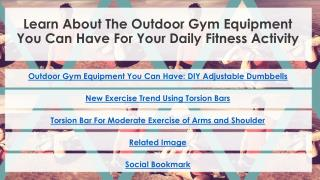 Learn About The Outdoor Gym Equipment You Can Have For Your Daily Fitness Activity