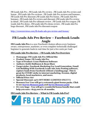 FB Leads Ads Pro review and giant $12700 bonus-80% discount