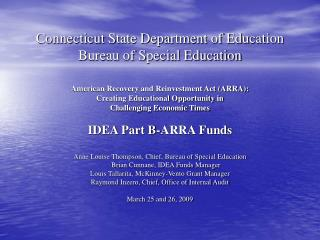 Connecticut State Department of Education Bureau of Special Education