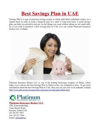Best Savings Plan in UAE
