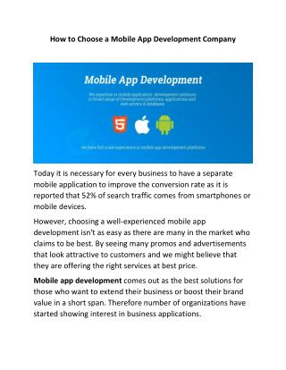 How to Choose a Mobile App Development Company in Toronto