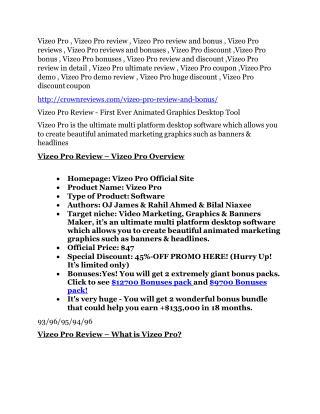 Vizeo Pro review - secret of Vizeo Pro