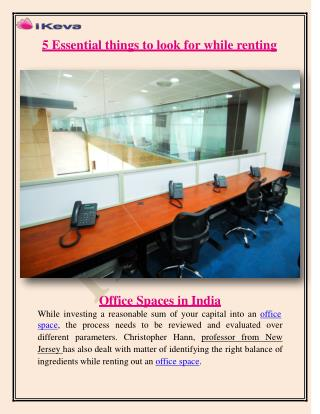 5 Essential things to look for while renting Office Spaces in India