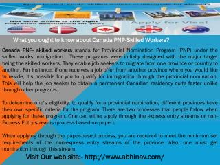 What you ought to know about Canada PNP-Skilled Workers?