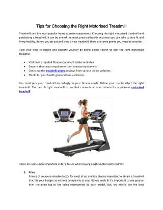 Tips for Choosing the Right Motorised Treadmill
