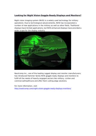 Looking for Night Vision Goggle-Ready Displays and Monitors?